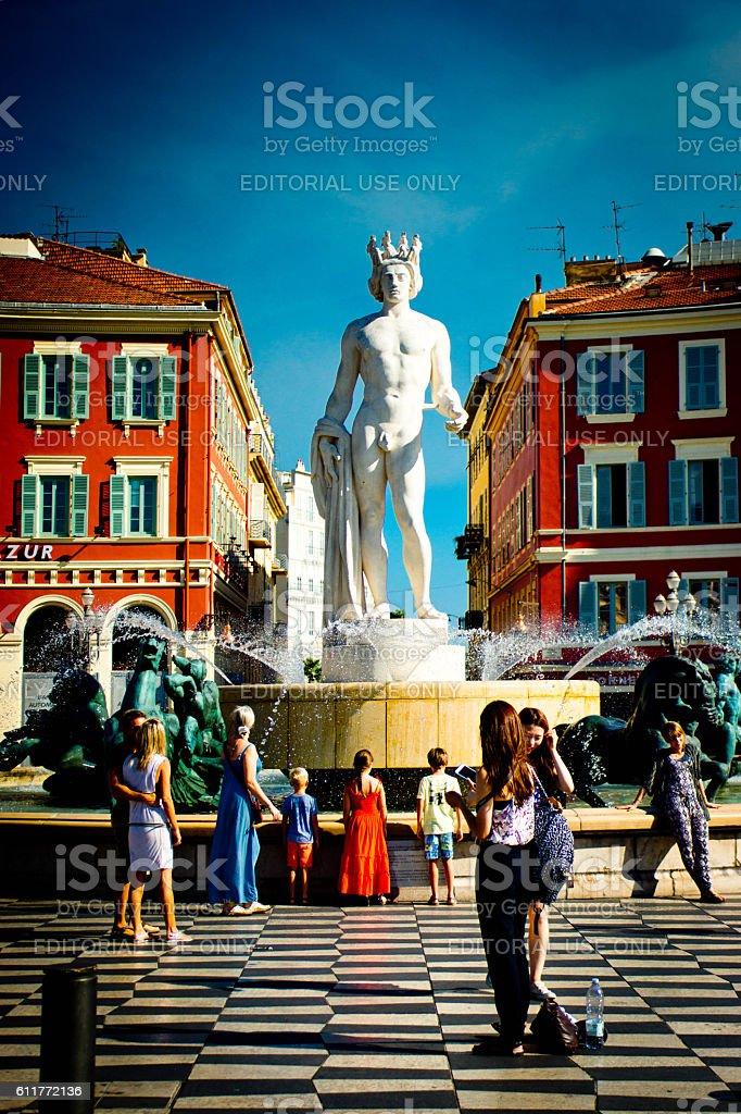 Fountain Soleil on Place Massena. stock photo