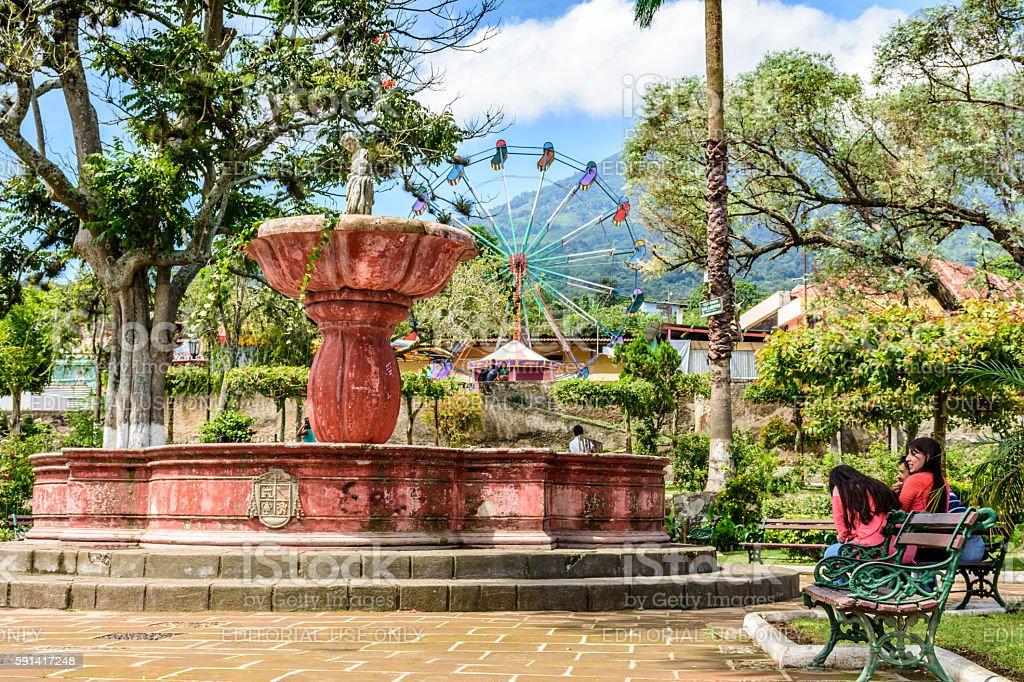 Fountain & St John's Day fair, Guatemala stock photo
