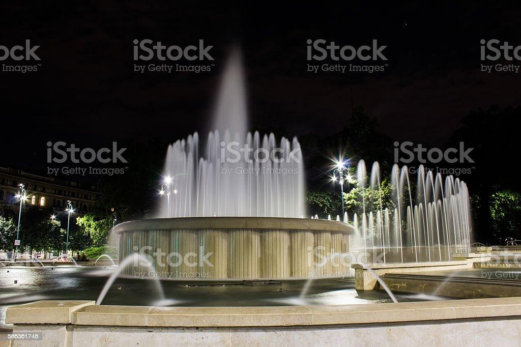 Fountain wedding cake stock photo