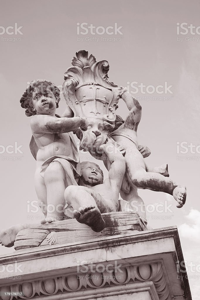 Fountain with Angels, Pisa; Italy stock photo