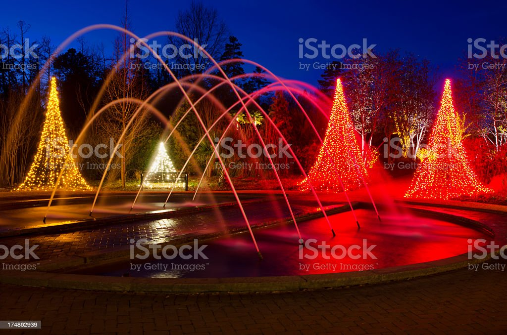 Fountain with Christmas Lights royalty-free stock photo