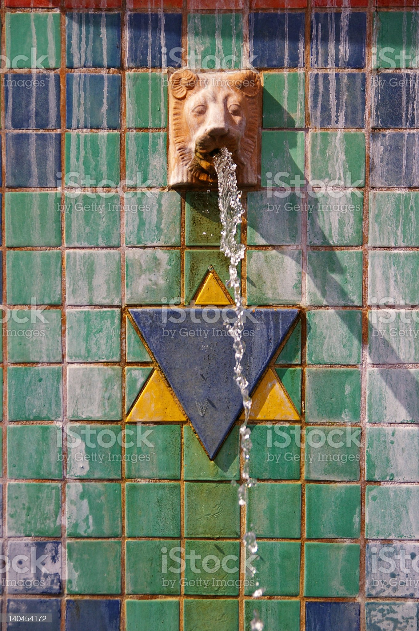 fountain with lion and star of David royalty-free stock photo