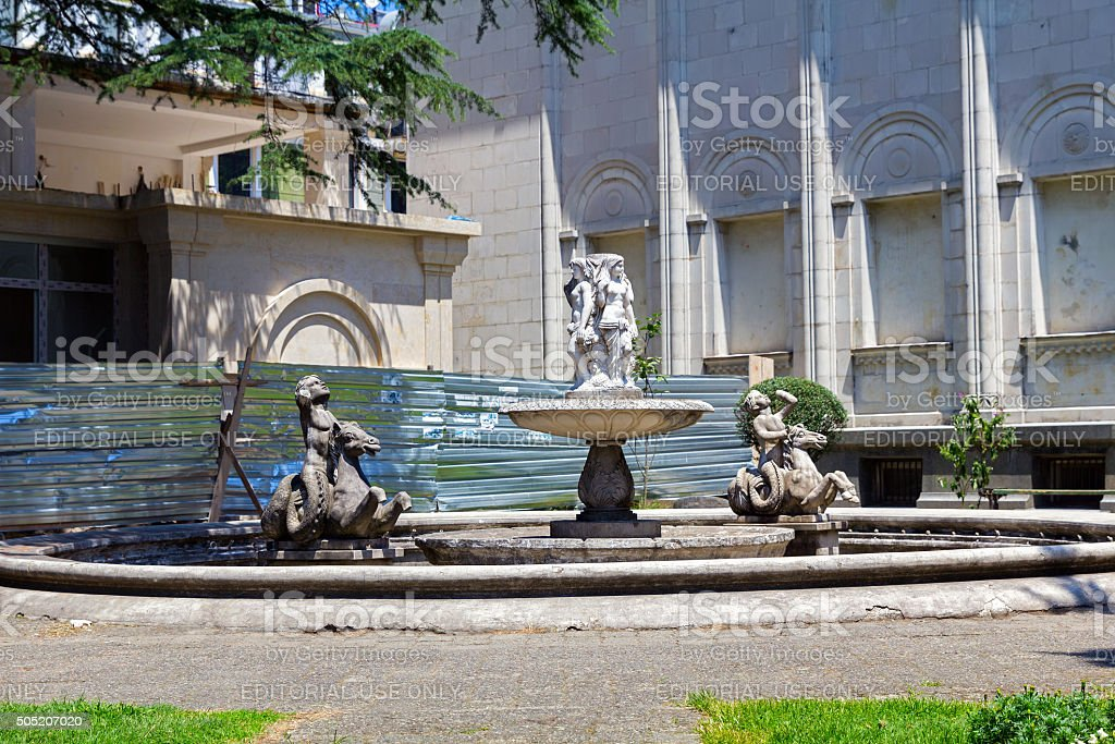 Fountain with mollusks and cherubim stock photo