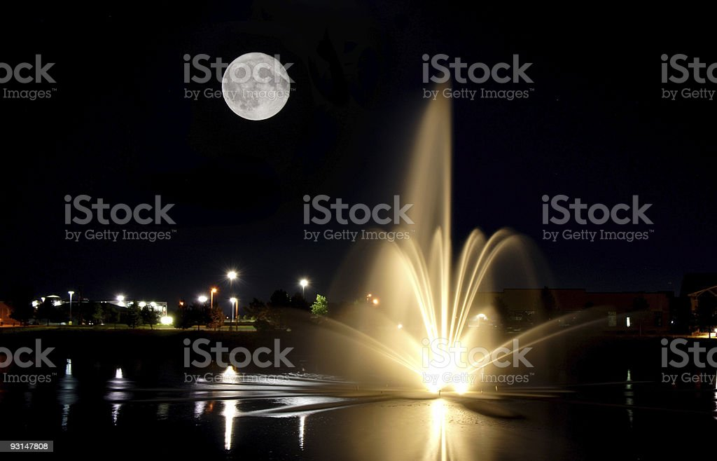 Fountain with Moon stock photo