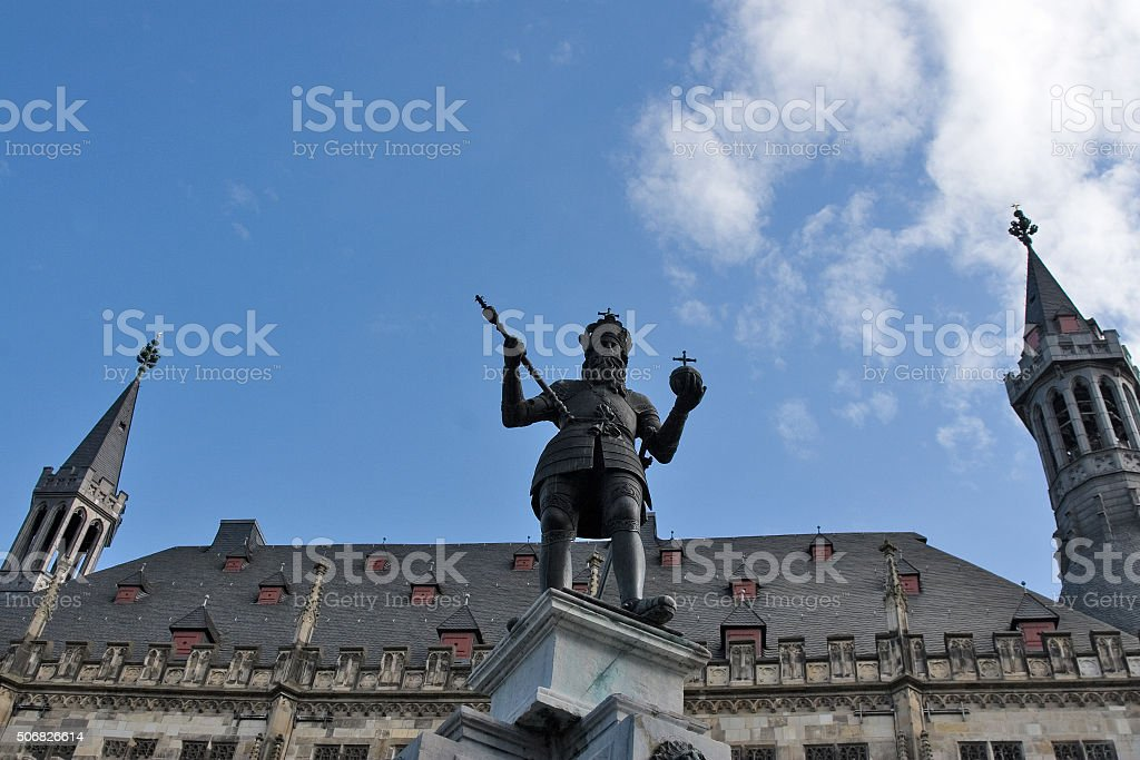 Fountain with statue of Charlemagne in the German city Aachen stock photo