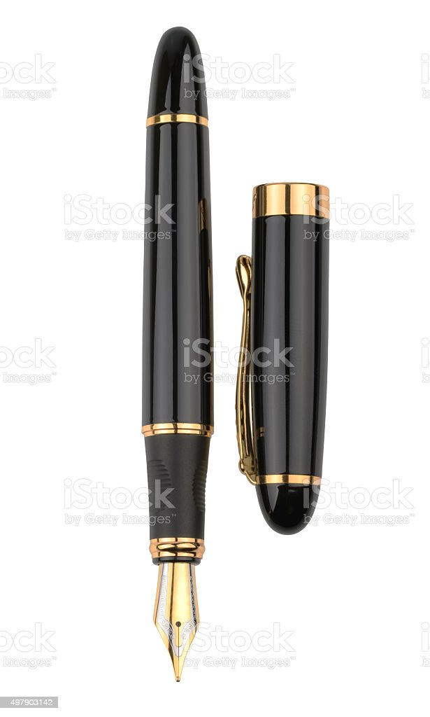 Fountain writing pen isolated on white background stock photo