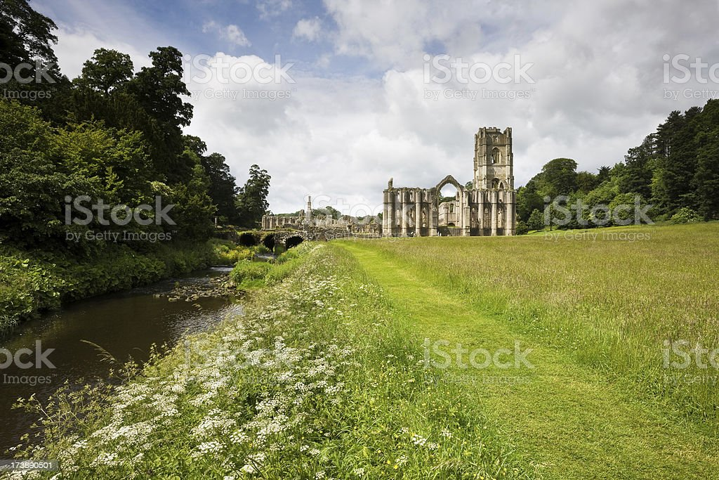 Fountains Abbey and River stock photo