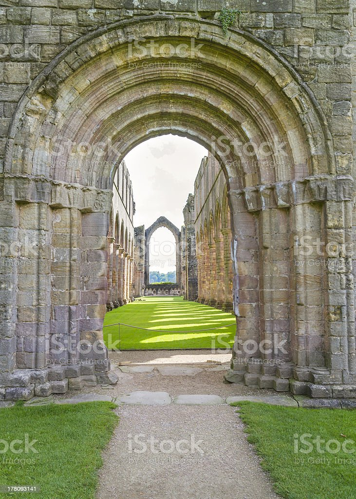 Fountains Abbey arches stock photo