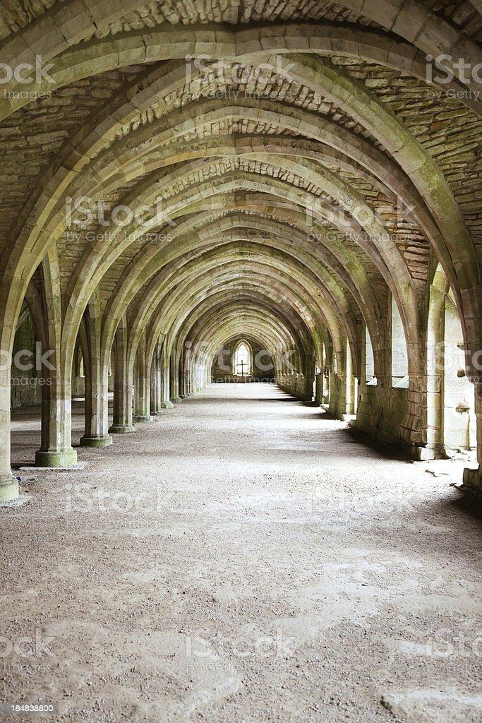 Fountains Abbey Cellarium Vertical royalty-free stock photo