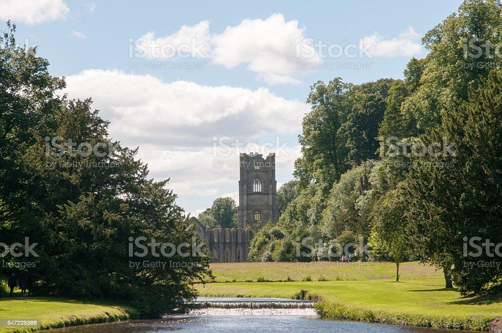 Fountains Abbey landscape stock photo