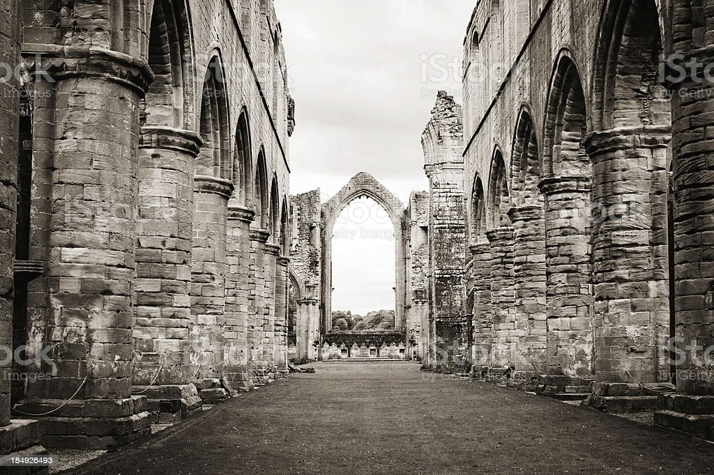 Fountains Abbey Nave stock photo