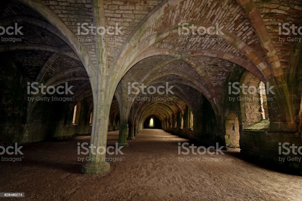 Fountains Abbey, North Yorkshire, UK stock photo