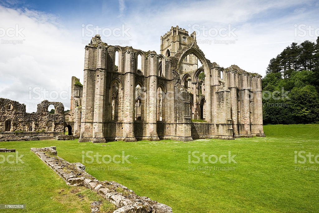 Fountains Abbey Ruin in North Yorkshire stock photo