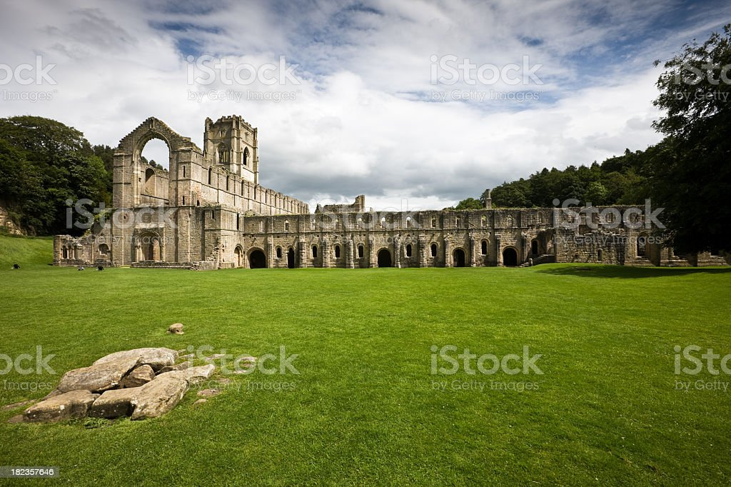 Fountains Abbey Ruins Landscape in Yorkshire stock photo