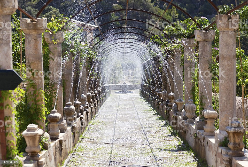 Fountains Alfabia Gardens Majorca royalty-free stock photo