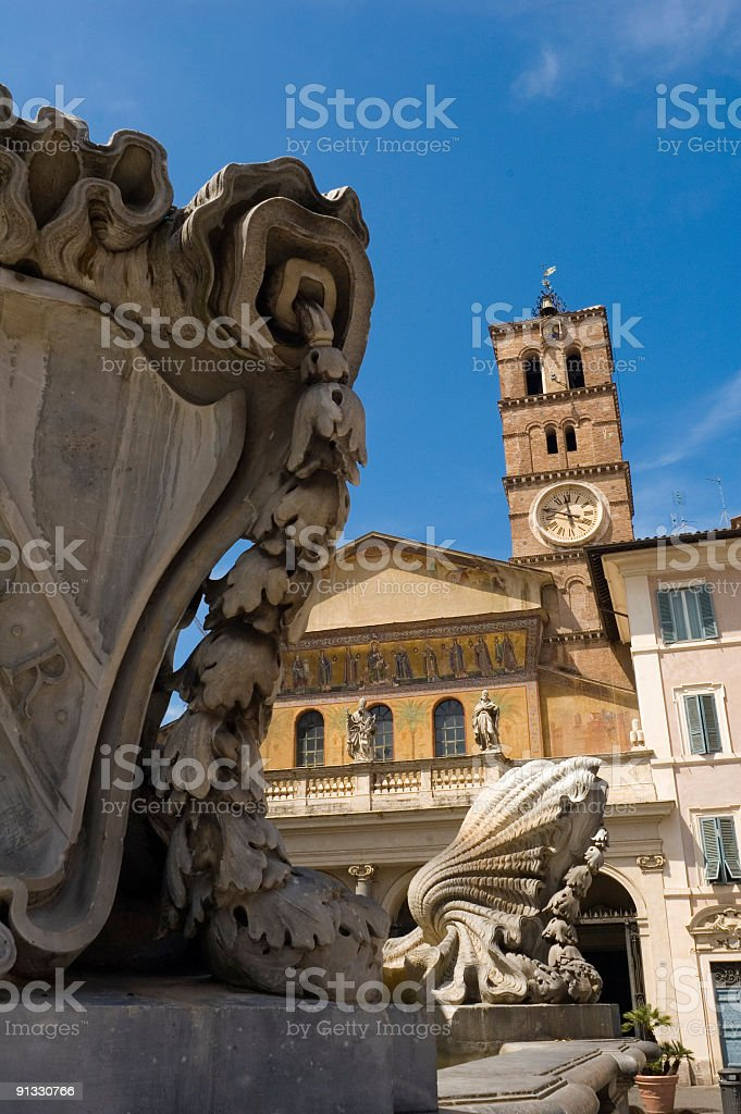Fountains and mosaics, Trastevere, Rome stock photo