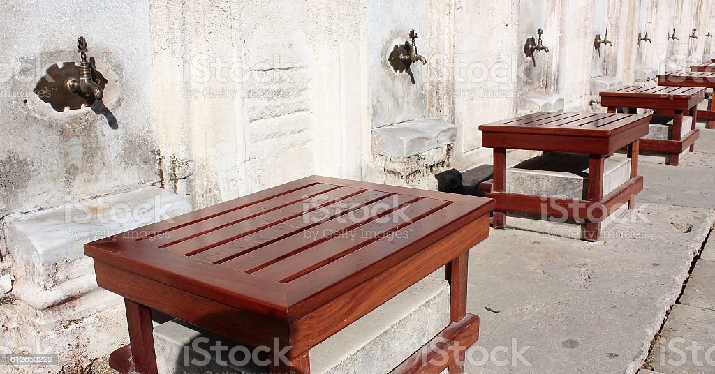 Fountains and seats used by Muslims before and after the prayer stock photo