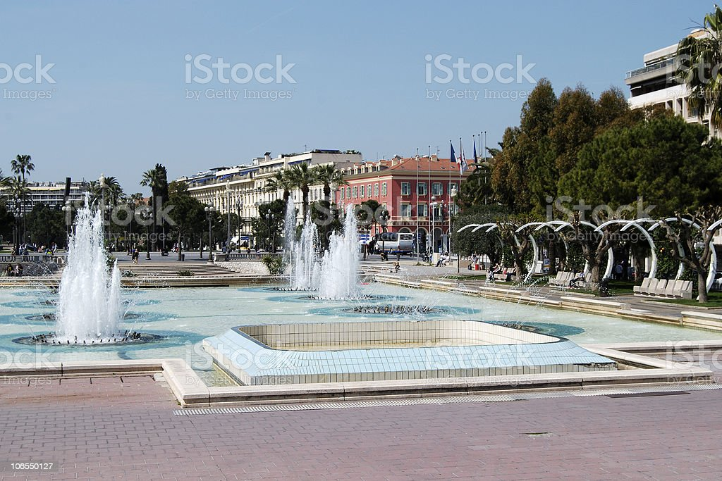 Fountains at Espace Massena. Nice. Cote d'Azur. France royalty-free stock photo