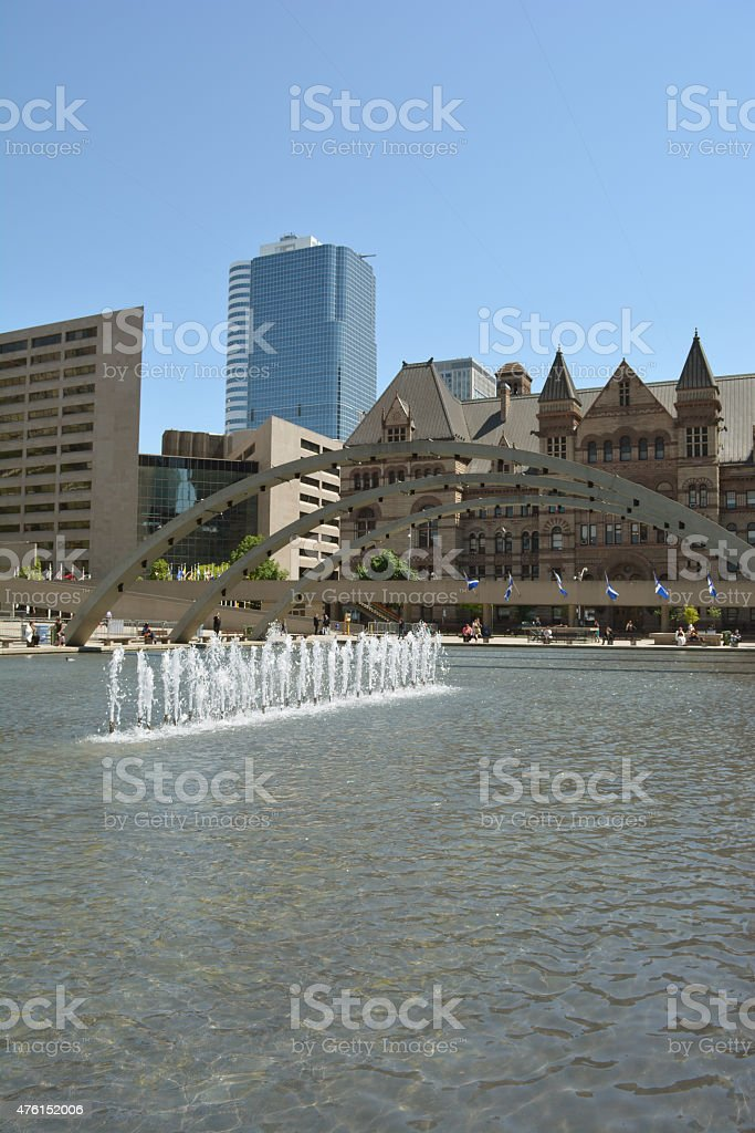 Fountains at Nathan Phillips Square in Toronto. stock photo