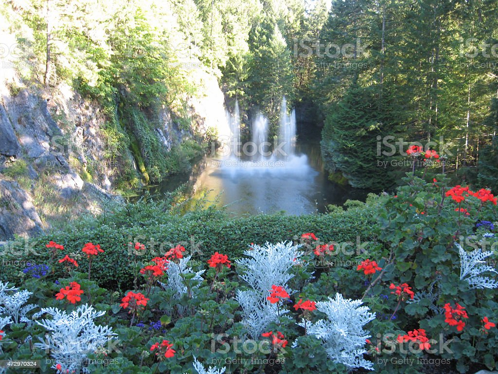 Fountains Butchart Gardens stock photo