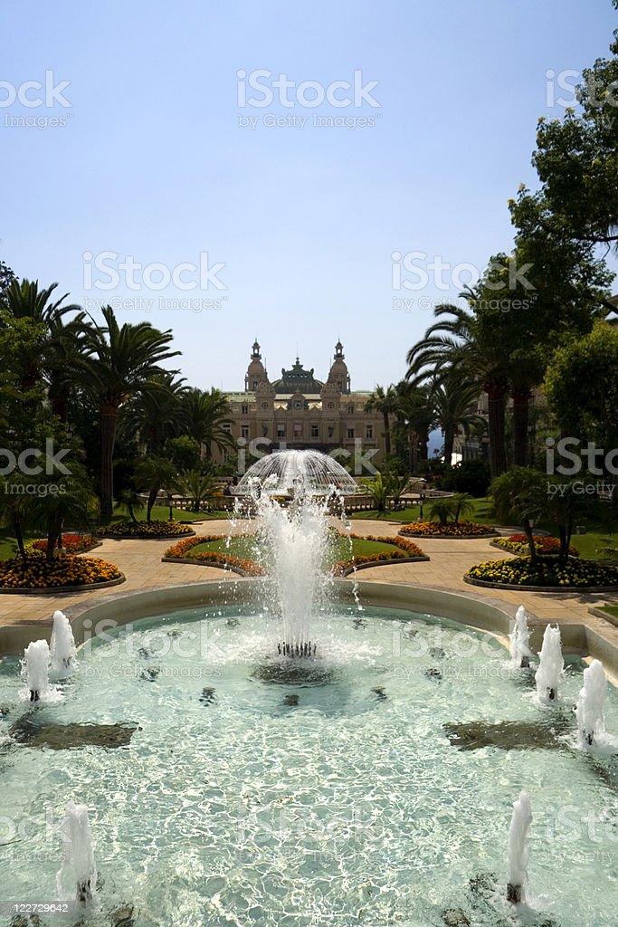 Fountains in Casino Square Monaco stock photo