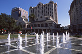 Fountains in Plaza de Cesar Chavez downtown San Jose California