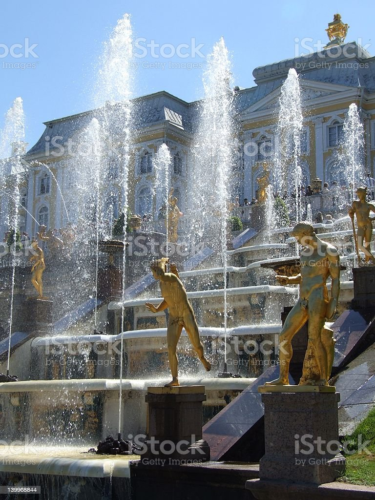 Fountains in St. Petersburg royalty-free stock photo