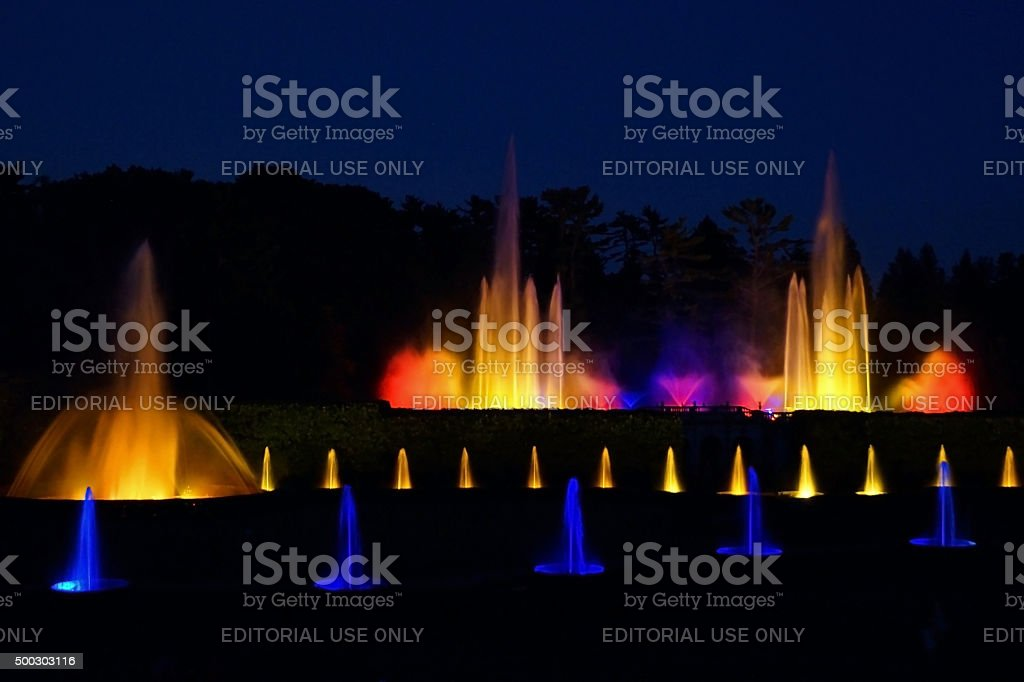 Fountains in the Nighttime stock photo
