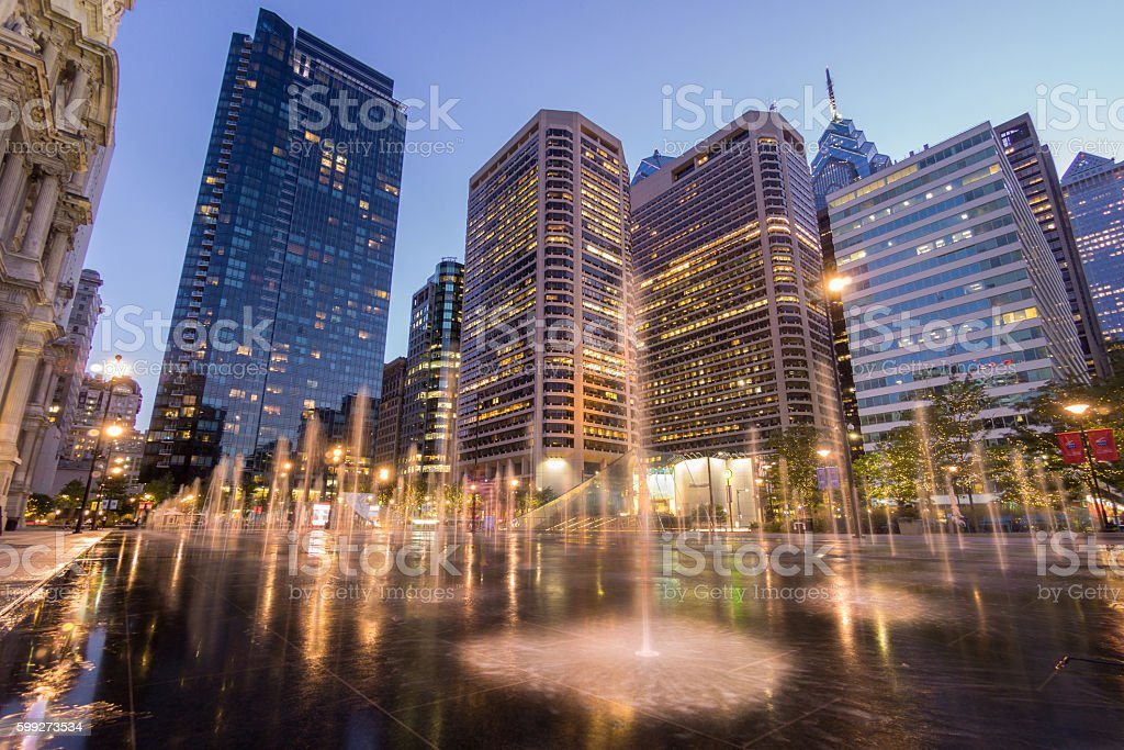 Fountains of Dilworth Plaza stock photo