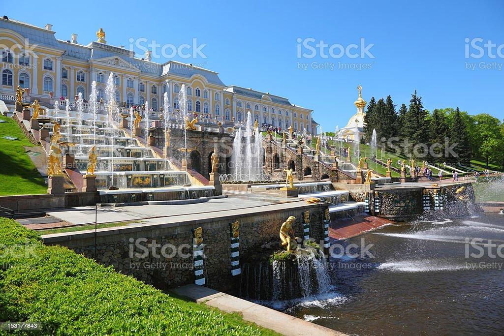 Fountains of Petergof. Saint Petersburg, Russia stock photo