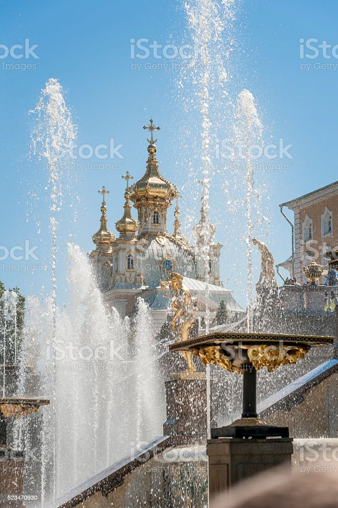 Fountains of St. Petersburg stock photo