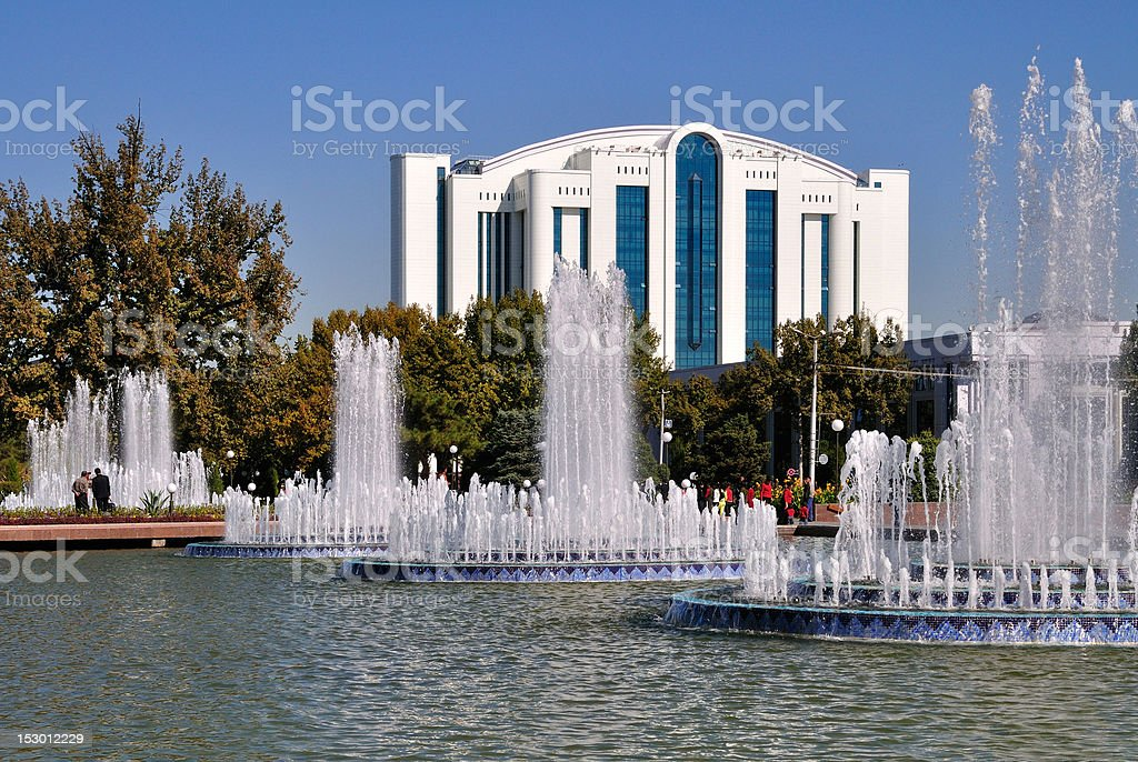Fountains of the Independence Square in Tashkent stock photo
