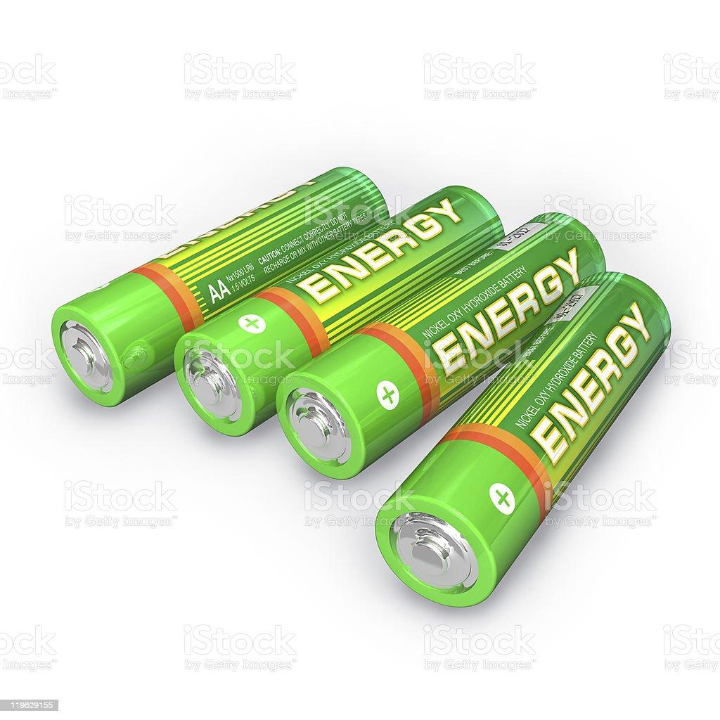 Four AA batteries stock photo