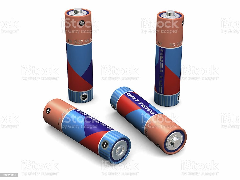 Four AA Batteries royalty-free stock vector art