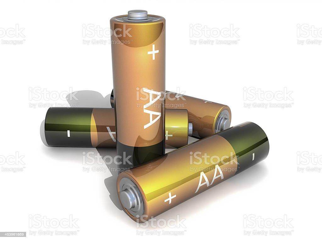 Four AA Battery on white Backgound stock photo