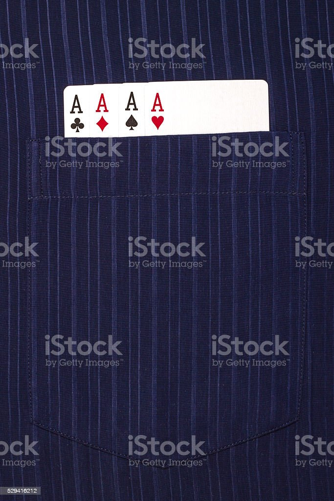 four ace cards inside   front pocket blue male shirt stock photo