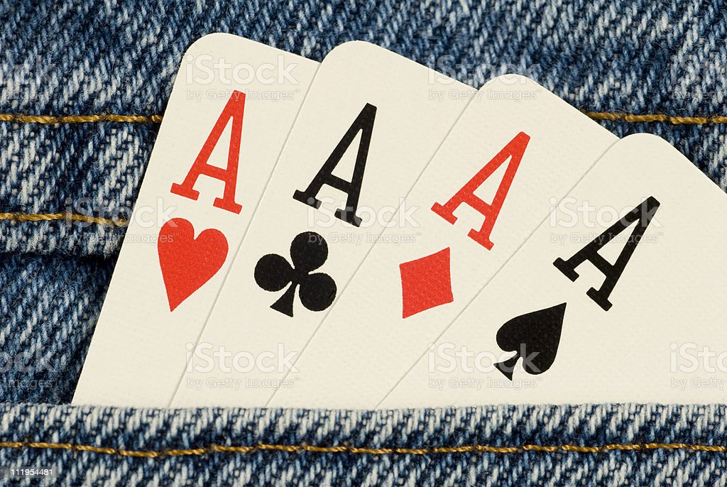 Four Aces in Your Pocket stock photo