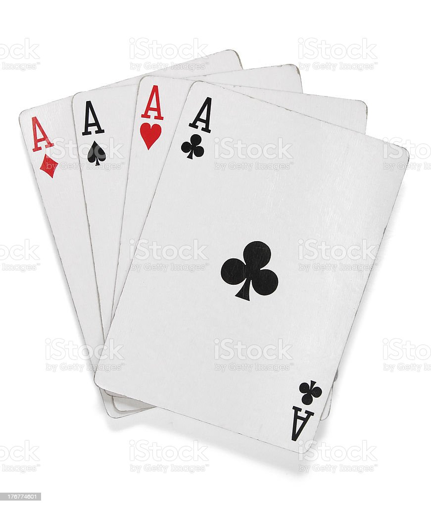 Four aces. Poker cards over white stock photo