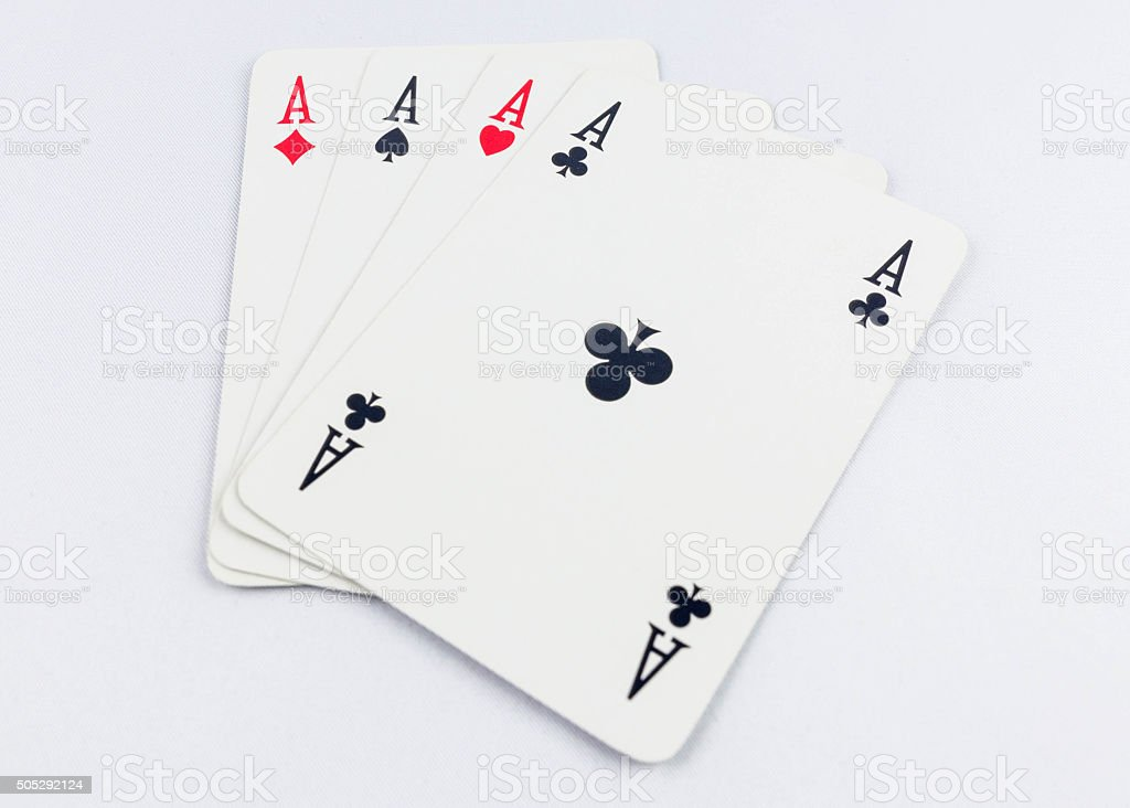 Four aces poker stock photo