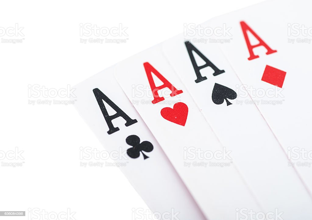 Four aces poker with dollars in hand stock photo