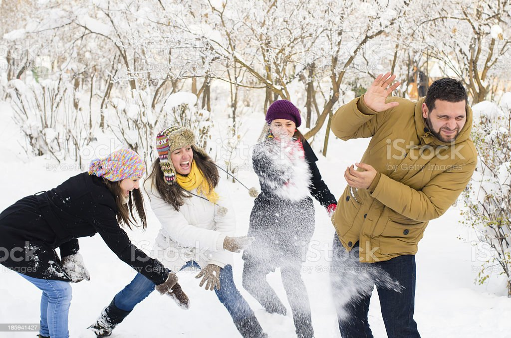 Four adults playing in the snow stock photo