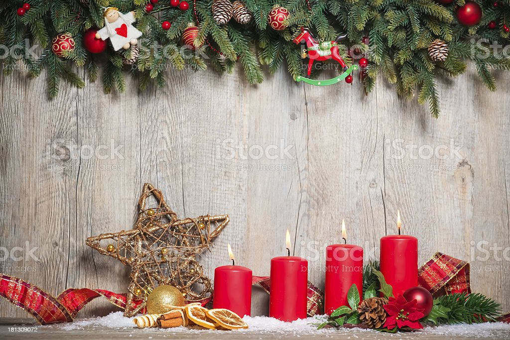 four advent candles burning royalty-free stock photo
