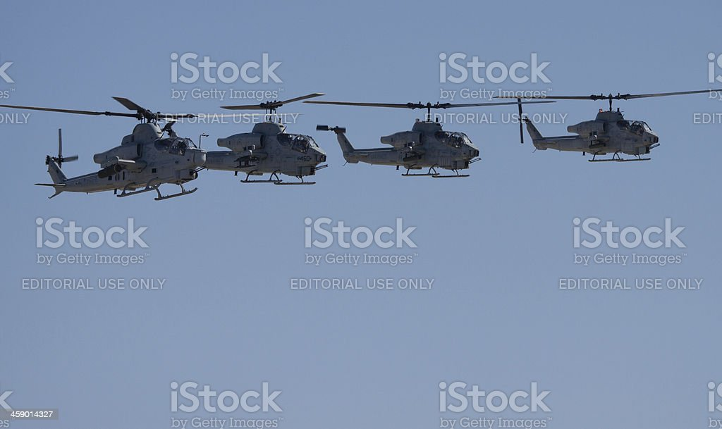 Four AH-1W Super Cobras royalty-free stock photo