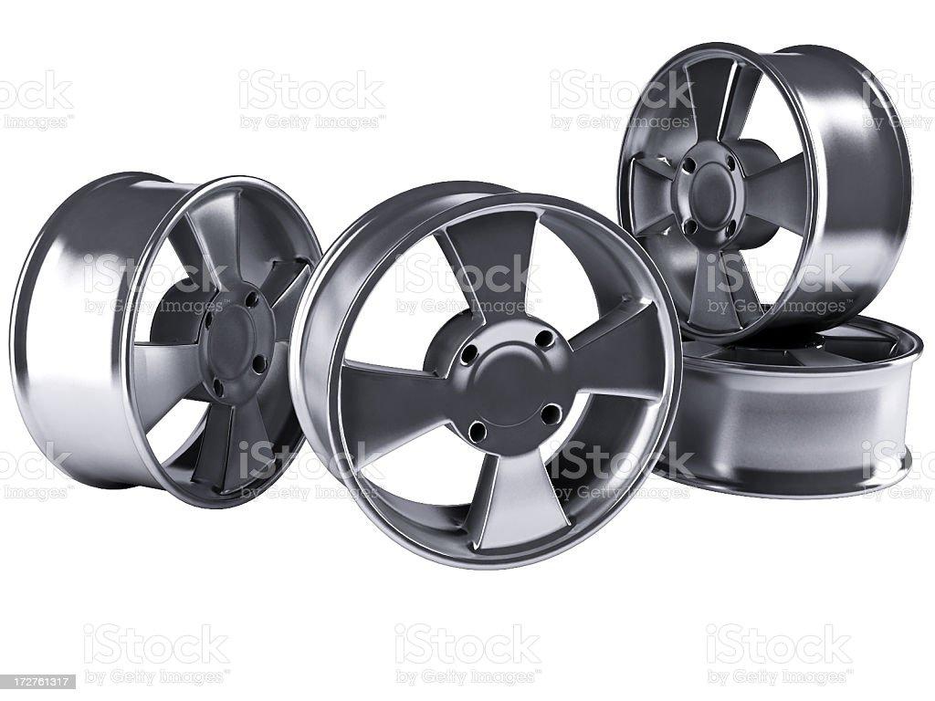 Four alloy car rims stock photo