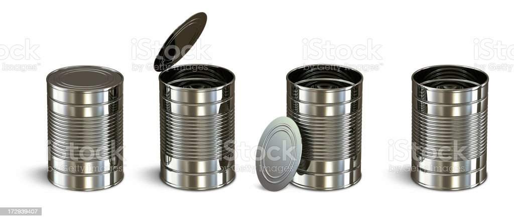 Four aluminum cans on a white background royalty-free stock photo