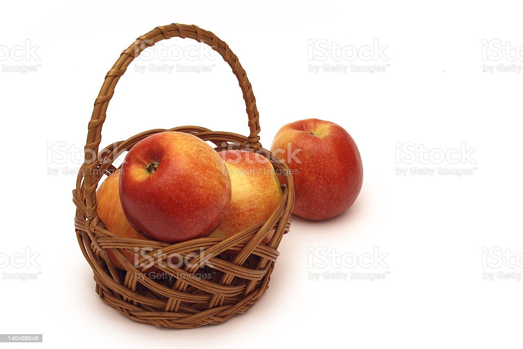 four apples in the basket royalty-free stock photo