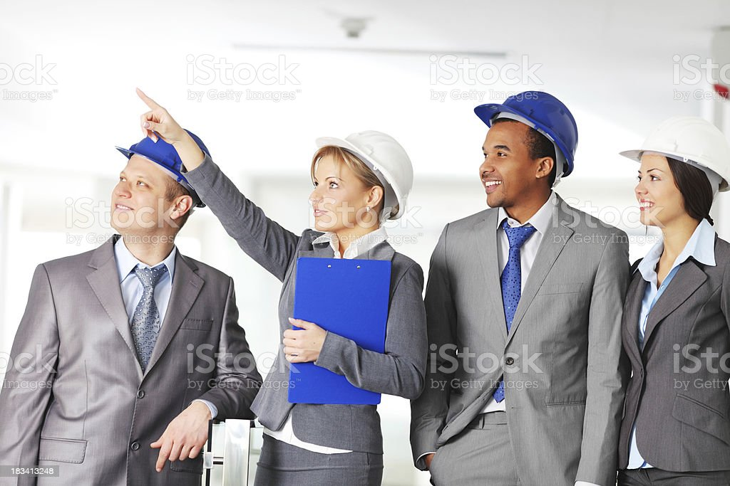 Four architect are working together royalty-free stock photo