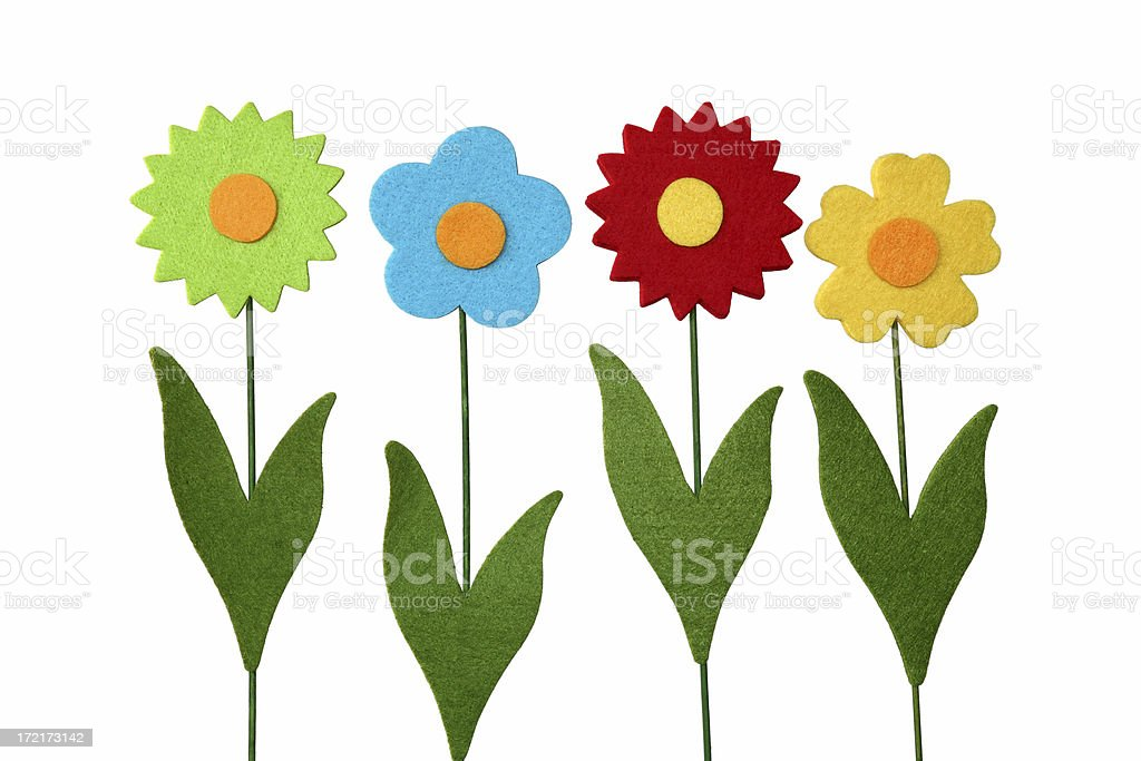 Four artificial fantasy flowers, made of felt, isolated on white royalty-free stock photo