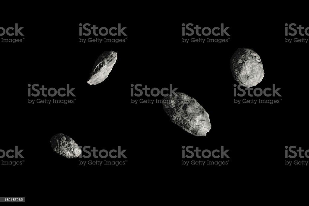 Four Asteroids - HiRes black stock photo