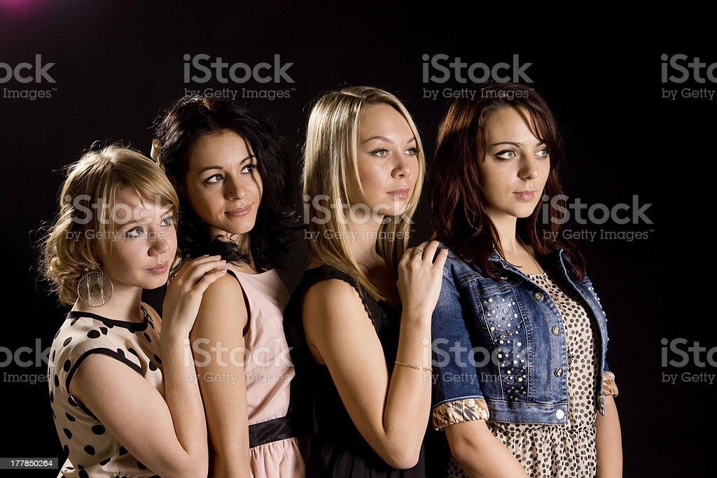 Four beautiful young female friends royalty-free stock photo